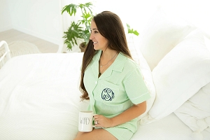 Monogrammed Seersucker Short Set - Green